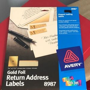 🌹🌹 3 for $15 🌹🌹 AVERY address labels Gold